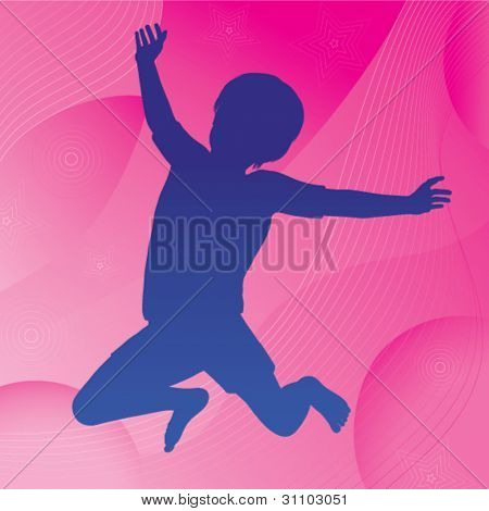 Vector silhouette of a happy jumping child against an abstract wavy circles and stars background