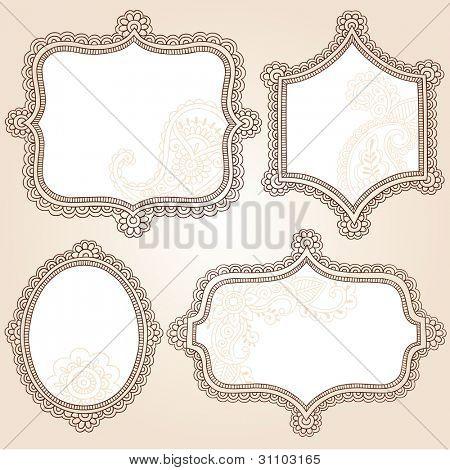 Henna Vintage Frames Mehndi Doodles Paisley Design Elements Set- Vector Illustration