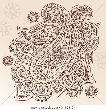 Henna Paisley Mehndi Doodles Abstract Floral Vector Illustration Design Element