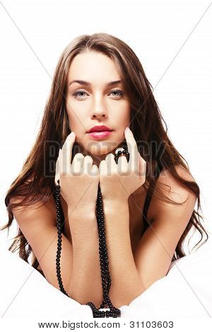 beautiful woman with black chain