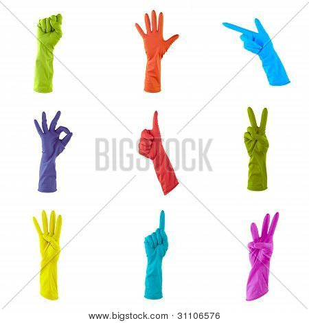 Collage Of Colorful Rubber Gloves To Clean The House Isolated