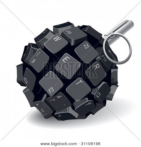 Black keyboard grenade on white background. Vector illustration