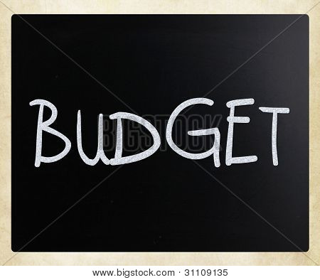 """budget"" Handwritten With White Chalk On A Blackboard"