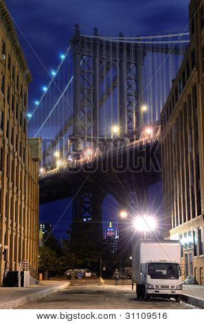 Manhattan Bridge viewed from the Brooklyn side in New York City.
