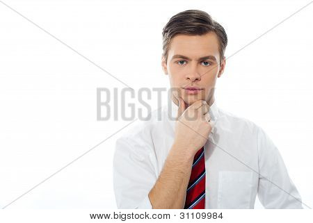 Thinking Caucasian Male Model