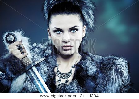Warrior woman. Fantasy fashion idea.