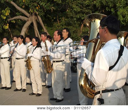 Marching Band In Taiwan Plays In A Park