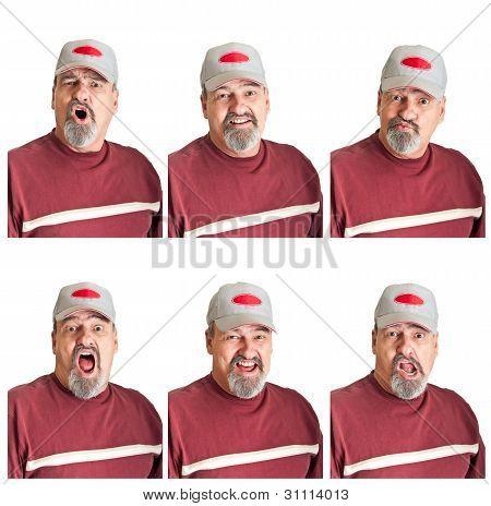 Seis diferentes expresiones en hombre maduro