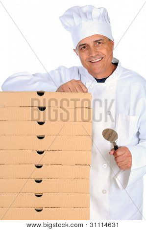 Pizza Chef leaning on a stack of boxes and holding a cutter. Vertical format over white.