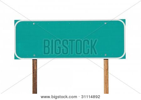 Blank green highway sign isolated on white.