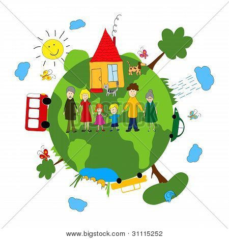 Family And Green Earth