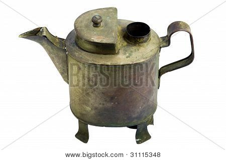 Antique Iron Pot. With White Background.