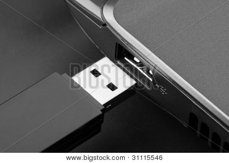 Plugging removable flash disk memory into laptop USB slot