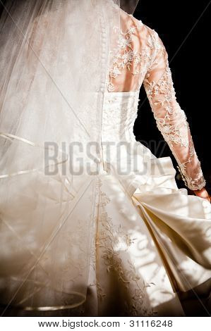 close up wedding Dress in black