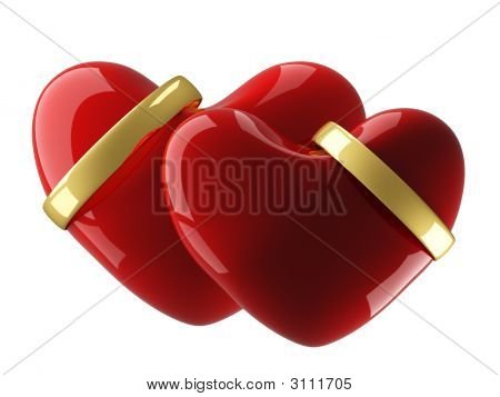 Two Heart With Wedding Rings On A White Background 3D Image Stock photo