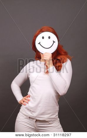 smiling girl with red hair