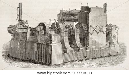 Edison's electrodymamic machine old illustration. Created by Broox and Tilly, published on Magasin Pittoresque, Paris, 1882