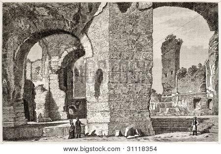 Termas de Caracalla ruinas vista antigua, Roma. Creado por Catenacci, publicada en Magasin Pittoresque, Par