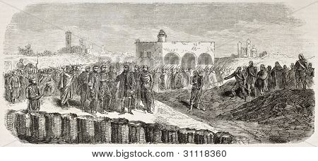 French intervention in Mexico: General Negre opening trench in front of Puebla. Created by Worms after Pierson, published on L'Illustration, Paris, 1863