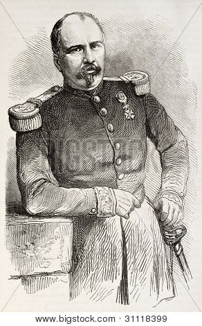 Xavier Jeanne Marie Clement Vernhet de Laumiere old engraved portrait, General of French army dead in Mexico. Created by Janet-Lange after photo of Ramade, published on L'Illustration, Paris, 1863