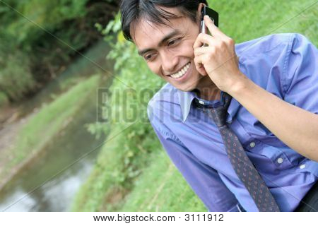 Man Calling In Nature