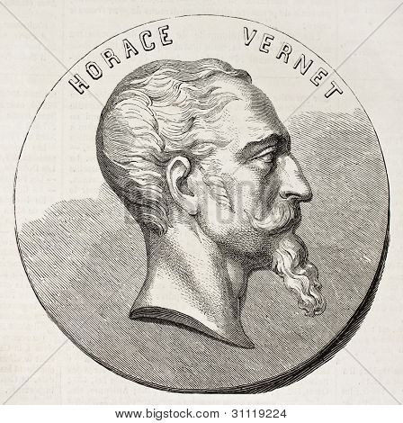 Horace Vernet Medallion (French painter). Created by Chenu, published on L'Illustration, Journal Universel, Paris, 1863
