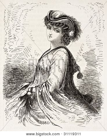 Young woman portrait entitled Camelia (Camellia). Created by Hadol, published on L'Illustration, Journal Universel, Paris, 1863