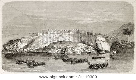 French intervention in Mexico: attacking Red Battery in Acapulco surroundings. Created by Best and Cosson-Smeeton, published on L'Illustration, Journal Universel, Paris, 1863
