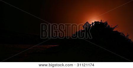 Silhouette Bunch Of Debris