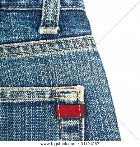 blue denim jeans with red label