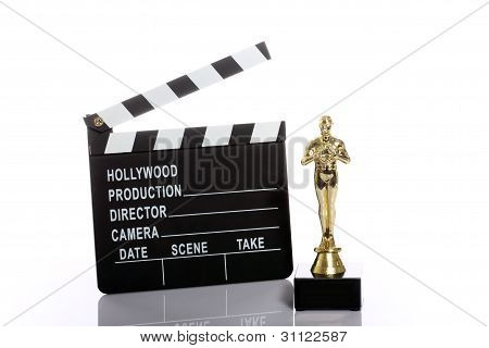 Movie Clapper Board And  Oscar