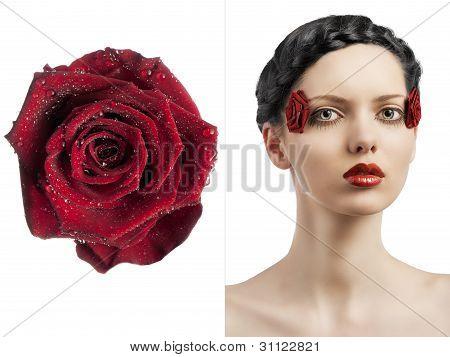A maquiagem Floral, ela virou-se de três quartos