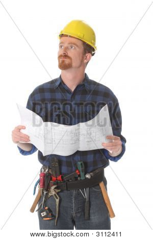 Construction Worker Wonderfully Looking Up