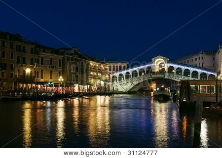 Rialto Bridge At Dusk In Venice