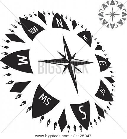 Black illustration of compass