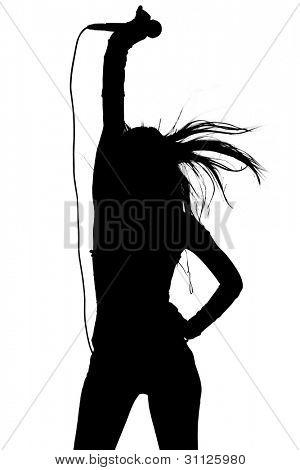 Silueta de mujer cantar