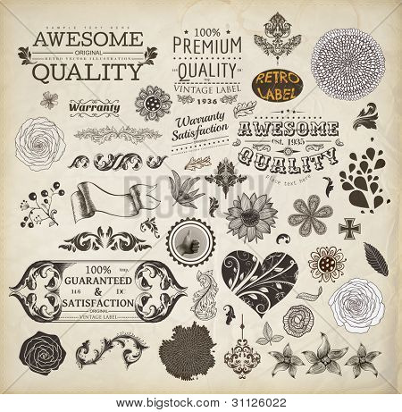 vector set: calligraphic design elements, Premium Quality and Satisfaction Guarantee Label collection with vintage engraving flowers, Heart with flower ornament for wedding invitation