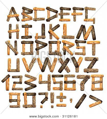 Alphabet - letters from wooden boards and bark