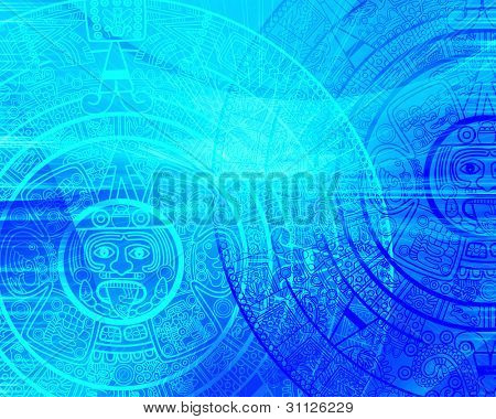 Maya prophecy. Background of blue color