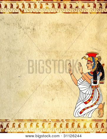 Wall with Egyptian goddess image - Isis