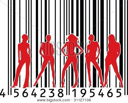 Glamour girls with barcode background for shopping ad