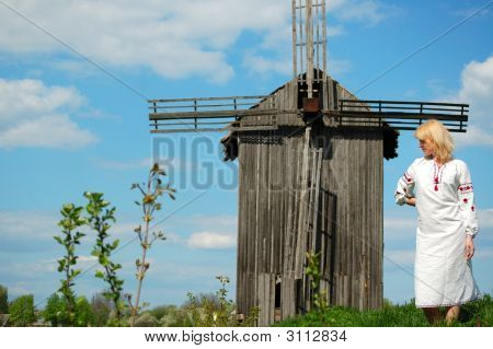 Girl Near Old Windmill
