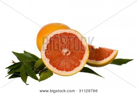 Still-life of fresh fruit isolated on white background