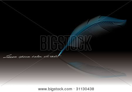 Blue feather - detailed illustration isolated on black