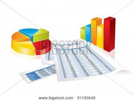 Conceptual business earnings reports and charts in editable vector format