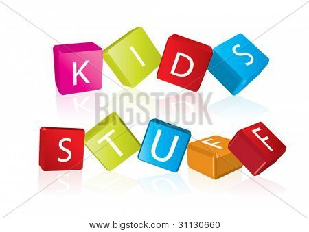 Kids stuff (cube letters in editable vector format)