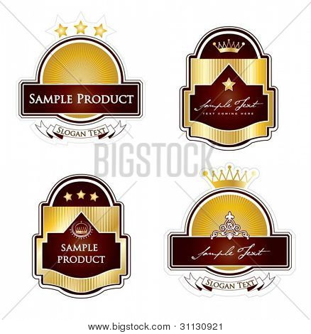 Framed labels set in editable vector format