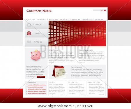 Red website template in editable vector format