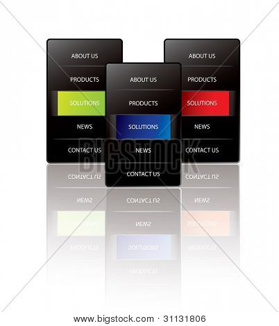 Black vertical web menu