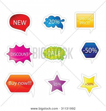 Differently colored sticker set in editable vector format